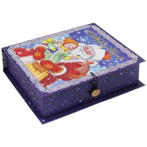 Коробка подарочная Феникс-Презент Дедушка Мороз с девочкой, 20 х 14 х 6 см