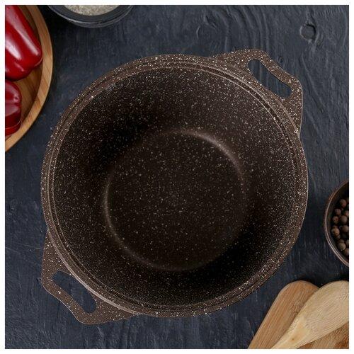 Кастрюля Kukmara Marble Induction, 3 л, стеклянная крышка, антипригарное покрытие, кофейный мрамор сковорода d 24 см kukmara кофейный мрамор смки240а