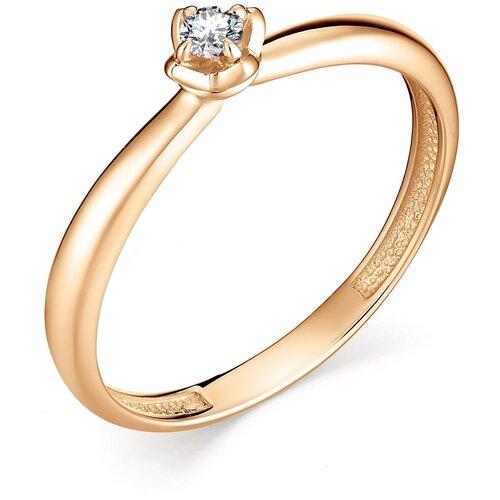 АЛЬКОР Кольцо с 1 бриллиантом из красного золота 12894-100, размер 16