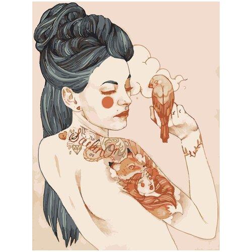 Купить Картина по номерам Девушка с птицей, 80 х 100 см, Красиво Красим, Картины по номерам и контурам