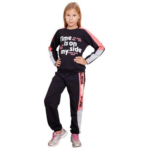 Спортивный костюм Юлала размер 110-116(64), черный/розовый