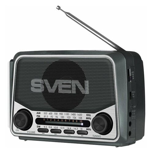 Радиоприёмник SVEN SRP-525 3 Вт FM/AM/SW USB microSD аккумулятор 150-20000 Гц черный SV-017156 1 шт.