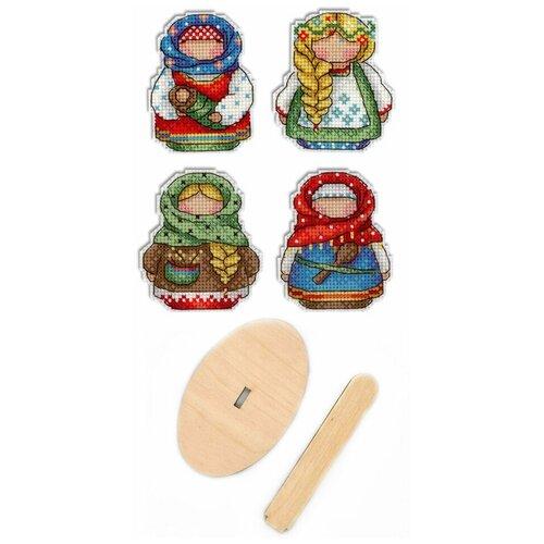 Купить Набор для вышивания крестом, комплект: Р-338 Русские обереги. Магниты , РА-008 подставка деревянная малая , МП Студия, М.П.Студия, Наборы для вышивания