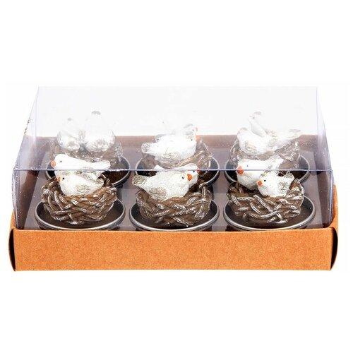 Набор фигурных свечей птички В гнёздышке, 3.8х4 см, (упаковка 6 шт.), BILLIET 953003