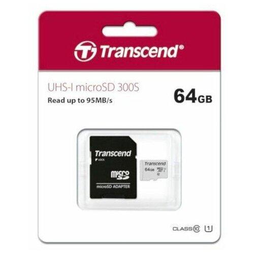 Фото - Карта памяти Transcend MicroSDXC 64GB 300S UHS-I U1 + ADP (90/45 MB/s) карта памяти sdhc 32gb transcend class10 uhs i