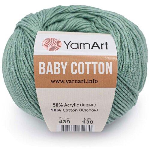 Фото - Пряжа YarnArt 'Baby Cotton' 50гр 165м (50% хлопок, 50% акрил) (439 зеленая бирюза), 10 мотков пряжа yarnart baby 50гр 150м 100% акрил 1182 коричневый 5 мотков