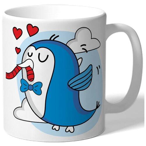 Кружка белая парная в подарок влюбленным - синяя птичка с бабочкой, сердца