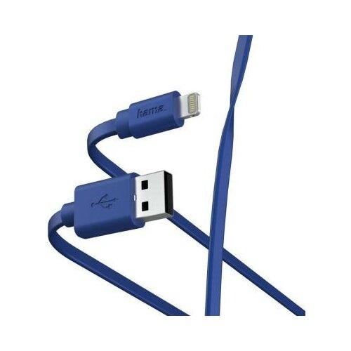 Фото - HAMA Кабель Lightning 1м HAMA 00187232 плоский синий кабель интерфейсный hama 00187232 lightning usb 2 0 m 1м синий плоский