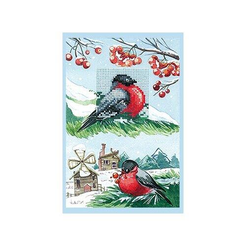 Набор для вышивания Сделай своими руками ССР.О-14 Открытка Снегири 10х15 см
