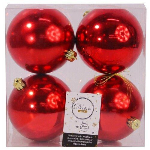 Фото - Набор однотонных пластиковых шаров глянцевых, цвет: красный, 100 мм, упаковка 4 шт., Kaemingk набор пластиковых шаров new year mix красный бордовый 60 мм упаковка 12 шт kaemingk 023573