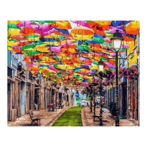 Купить Картина по номерам Улица зонтиков, 40x50 см. Цветной, Картины по номерам и контурам