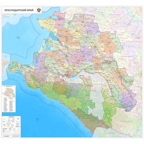 Настенная карта Краснодарского края 140 х 150 см (на самоклеющейся пленке)