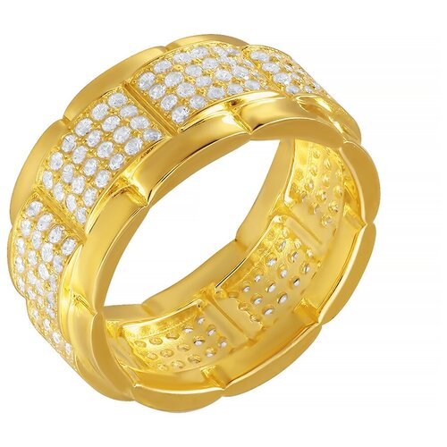 Фото - ELEMENT47 Широкое ювелирное кольцо из серебра 925 пробы с кубическим цирконием Z00372_KO_001_YG, размер 18 element47 широкое ювелирное кольцо из серебра 925 пробы с кубическим цирконием 05s2azr104804curi 001 wg размер 18