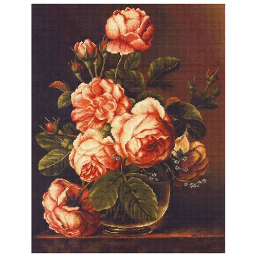 Фото - Luca-S Набор для вышивания Розы в вазе, 34 х 43 см, B488 bu4022 набор для вышивания хижина в лесу 43 5 40см luca s