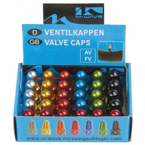 Колпачки для ниппеля 5-519909 авто/спорт алюминиевый анодированный цвета в ассортименте (15х2шт в упаковке) M-WAVE