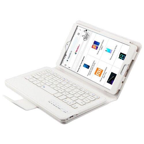Клавиатура MyPads для Apple iPad 9.7 2017 (A1822 / A1823 / A1833) съемная беспроводная Bluetooth в комплекте c кожаным чехлом и пластиковыми наклейками с русскими буквами
