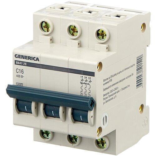 Автоматический выключатель IEK ВА 47-29 GENERICA 3P (C) 4,5kA 16 А автоматический выключатель iek ва 47 29 3p c 4 5ka 63 а