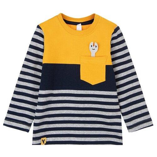 Лонгслив playToday, размер 92, темно-синий/оранжевый/серый брюки playtoday classic girls 394424 размер 122 темно серый