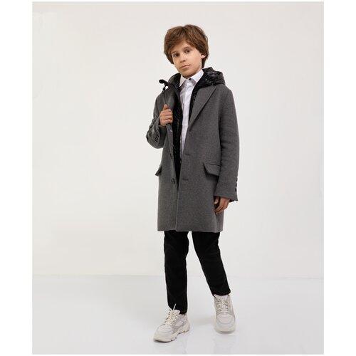 Пальто серое текстильное Gulliver для мальчиков, цвет серый, размер 140, модель 221GSBC4504 фото