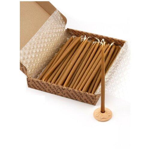 Свечи сорокоустные, 100% воск, 40 шт (в картонной коробке, с гипсовым подсвечником)/Подарочный набор свечей/Церковные православные свечи