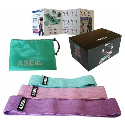Набор тканевых ленточных эспандеров ASE-RB-set3 зеленый