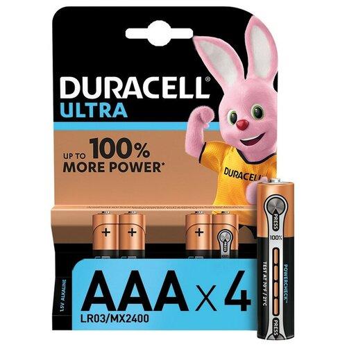 Фото - Батарейки DURACELL ULTRA AAA/LR03-4BL батарея duracell ultra power lr03 4bl aaa 4шт