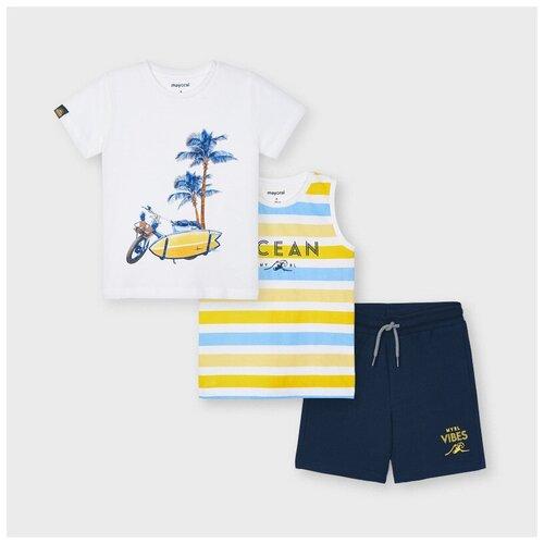 Комплект одежды Mayoral размер 5(110), белый/желтый/синий комплект одежды mayoral размер 110 белый красный