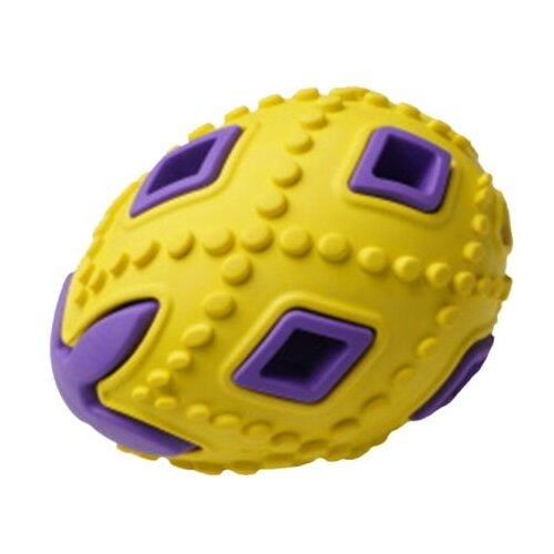 HOMEPET SILVER SERIES 6,2 см х 6,2 см х 8 см игрушка для собак яйцо желто-фиолетовое каучук