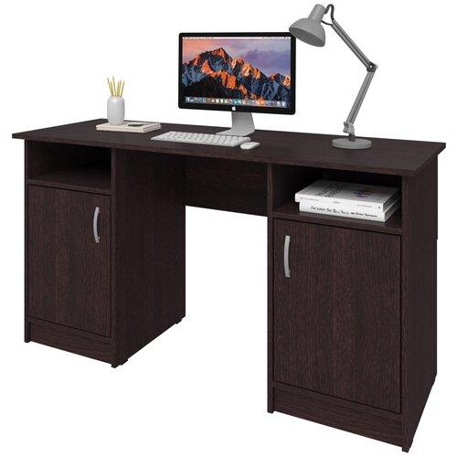 Фото - Письменный стол СитиМебель двухтумбовый, ШхГ: 140х50 см, цвет: венге цаво письменный стол ситимебель компактный шхг 140х50 см цвет венге цаво
