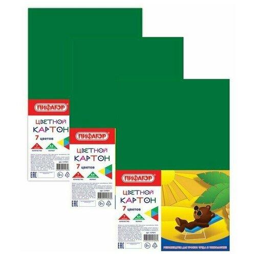 Картон цветной А4 немелованный (матовый), 7 листов 7 цветов, ПИФАГОР, 200х283 мм, 127051 (3 штуки) 127051-3