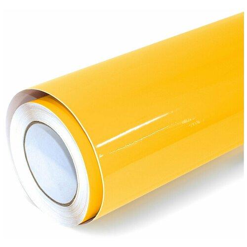Виниловая рекламная пленка цветная глянцевая - для дизайна интерьера, плоттерной резки и наружной рекламы, цвет - желтый, 60х152 см