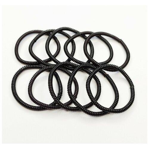 Комплект резинок для волос пружинки 10 шт, черные тонкие