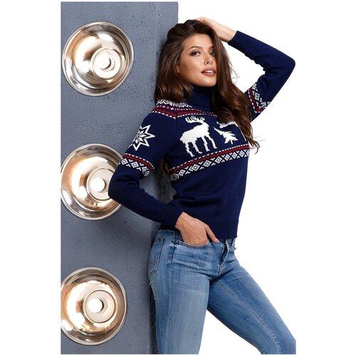 Шерстяной свитер, классический скандинавский орнамент с Оленями и снежинками, натуральная шерсть, темно-синий цвет, белый с красным орнамент, размер L