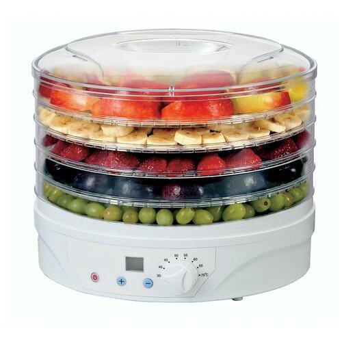 Электросушилка Supra DFS-322 для фруктов и овощей с регулировкой температуры и электронной настройкой времени сушки, 5 съемных прозрачных секций, 500 Вт