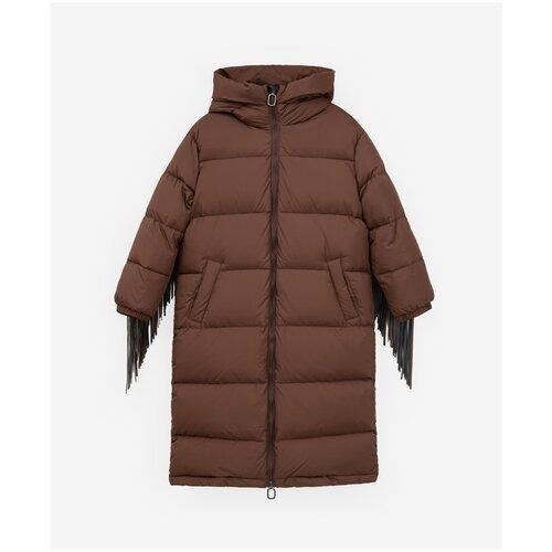 Пуховик Gulliver размер 146, коричневый брюки sela размер 146 коричневый