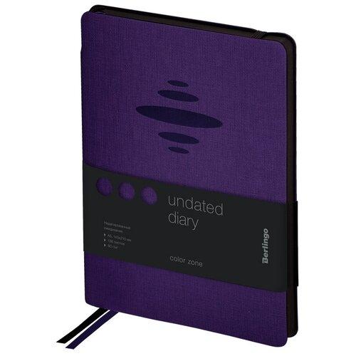 Купить Ежедневник недатир. A5, 136л., кожзам, Berlingo Color Zone , черн. срез, с резинкой, фиолетовый 276407, Ежедневники