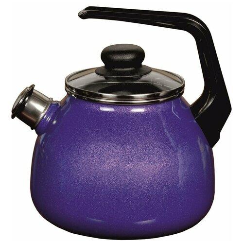 Чайник со свистком 3,0л GALAXY сине-розовый перламутр