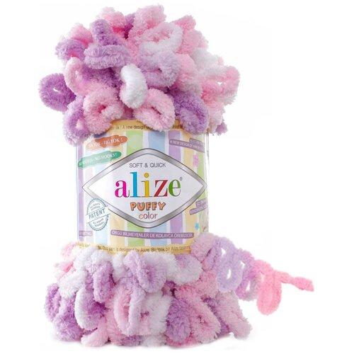 Пряжа Alize Puffy Color, 9 метров, 5 мотков по 100 грамм, цвет: 6051 секционный