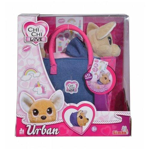 Плюшевая собачка Chi-Chi love, Городская мода, Simba (мягкая игрушка, с сумочкой и стикерами, 20 см)