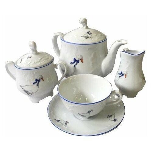 Чайный сервиз на 6 персон 15 предметов Cmielow Рококо /Гуси (220 мл) / 109919 сервиз чайный фарфоровый на 6 персон 220 мл royal classics 14 предметов