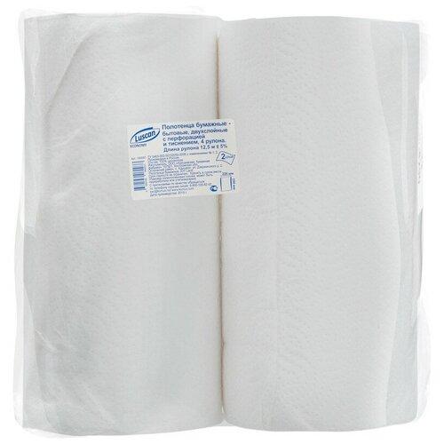 Купить Полотенца бумажные Luscan Economy 2-сл., целлюлоза с тиснением, 4рул./уп. 2 шт.