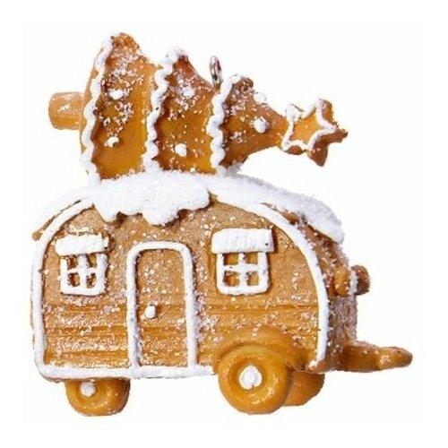 Ёлочная игрушка пряничный автомобиль (трейлер), полистоун, 7.5 см, Kaemingk 530682-трейлер