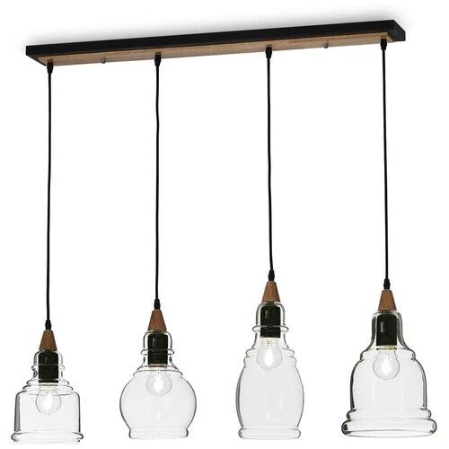 Светильник IDEAL LUX Gretel SP4, E27, 240 Вт, кол-во ламп: 4 шт., цвет арматуры: черный, цвет плафона: бесцветный