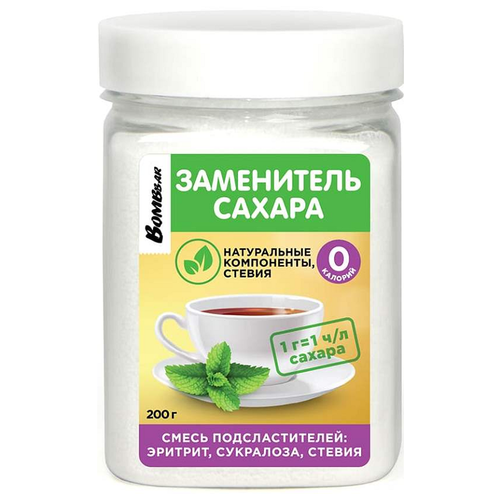 Заменитель Питания Bombbar Заменитель Сахара (эритрит, сукралоза, стевия) 200гр