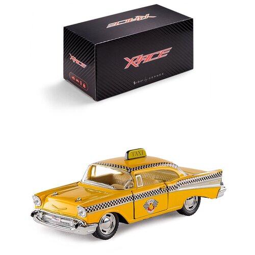 Купить Детская инерционная металлическая машинка Serinity Toys с открывающимися дверями, модель 1957 Chevrolet Bel Air такси, желтый, Машинки и техника