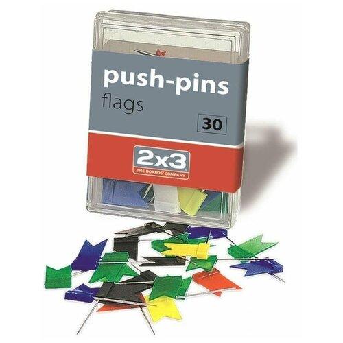 Кнопки силовые для пробковых досок 2x3 «Флажки» (35мм, пластик) 30шт.