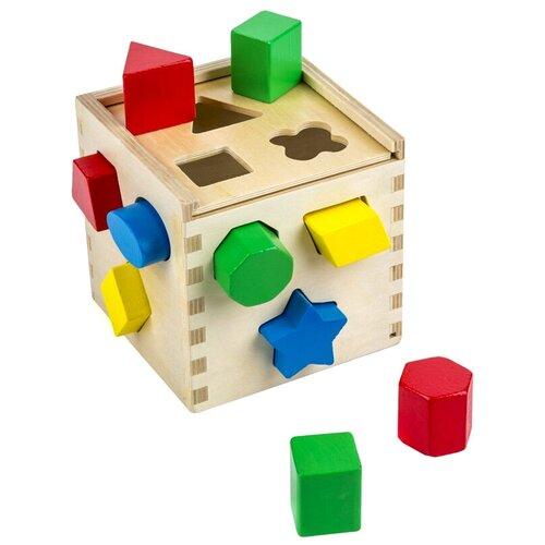 Купить Куб, сортировщик фигур, Melissa Doug (сортер, 12 деревянных элементов), Melissa & Doug, Сортеры