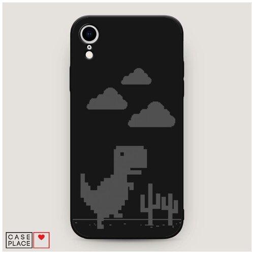 Чехол силиконовый Матовый iPhone XR (10R) Динозавр гугл