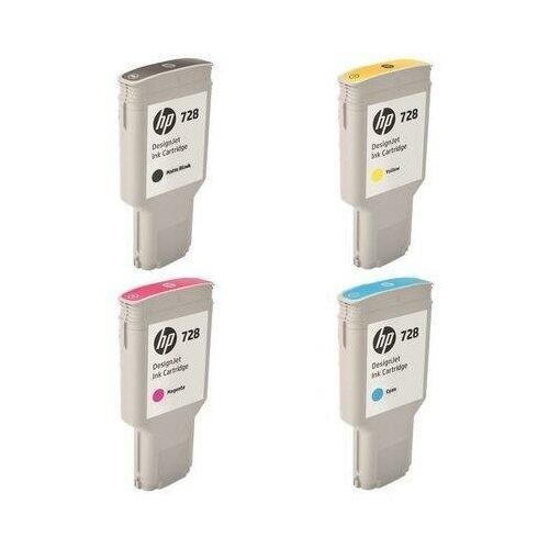 Фото - HP T730-T830-300ML-INK-PACK Картриджи комплектом 728-Pack полный набор 4 шт. MultiPack [выгода 1%] 1200 мл для DesignJet T730, T830 [F9K15A, F9J68A, F9K16A, F9K17A] картридж струйный hp 728 f9k17a голубой 300мл для hp dj t730 t830