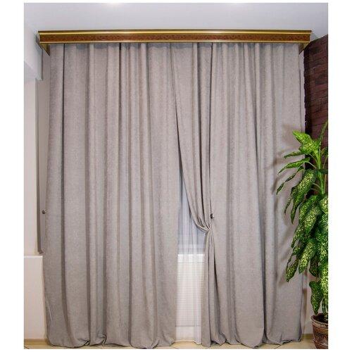 Комплект штор Милена из однотонной ткани софт, цвет серый ширина 200см х высота 270см - 2шт.